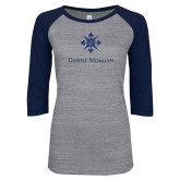 ENZA Ladies Athletic Heather/Navy Vintage Baseball Tee-Daniel Morgan w/ Compass Dark Blue Glitter