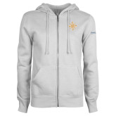 ENZA Ladies White Fleece Full Zip Hoodie-Compass