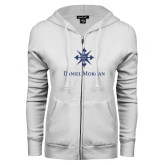 ENZA Ladies White Fleece Full Zip Hoodie-Daniel Morgan w/ Compass Dark Blue Glitter