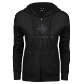 ENZA Ladies Black Fleece Full Zip Hoodie-Daniel Morgan w/ Compass Graphite Soft Glitter