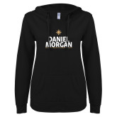 ENZA Ladies Black V Notch Raw Edge Fleece Hoodie-Daniel Morgan Stacked