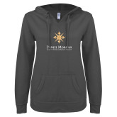 ENZA Ladies Dark Heather V Notch Raw Edge Fleece Hoodie-Primary Mark