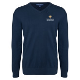 Classic Mens V Neck Navy Sweater-Graduate School of National Security