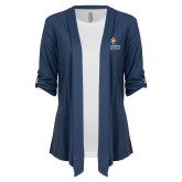 Ladies Navy Drape Front Cardigan-Graduate School of National Security