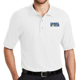 White Easycare Pique Polo-Daniel Morgan w/ Compass