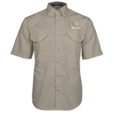 Khaki Short Sleeve Performance Fishing Shirt-Graduate School of National Security