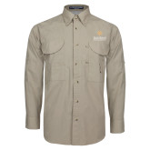 Khaki Long Sleeve Performance Fishing Shirt-Graduate School of National Security