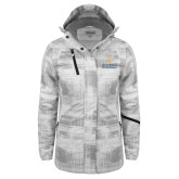 Ladies White Brushstroke Print Insulated Jacket-Graduate School of National Security