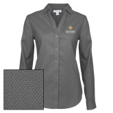 Ladies Red House Diamond Dobby Charcoal Long Sleeve Shirt-Graduate School of National Security