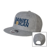 Heather Grey Wool Blend Flat Bill Snapback Hat-Daniel Morgan w/ Compass