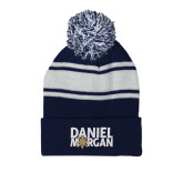 Navy/White Two Tone Knit Pom Beanie w/Cuff-Daniel Morgan w/ Compass