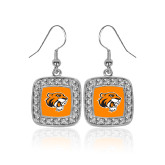 Crystal Studded Square Pendant Silver Dangle Earrings-Thomas Tiger Head