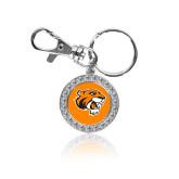Crystal Studded Round Key Chain-Thomas Tiger Head