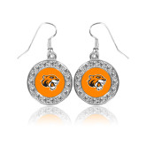 Crystal Studded Round Pendant Silver Dangle Earrings-Thomas Tiger Head
