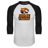 White/Black Raglan Baseball T Shirt-Thomas Doanes Tigers