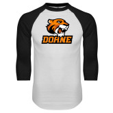 White/Black Raglan Baseball T Shirt-Thomas Doane