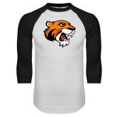 White/Black Raglan Baseball T Shirt-Thomas Tiger Head