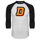 White/Black Raglan Baseball T Shirt-Stylized D