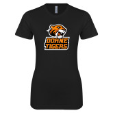 Next Level Ladies SoftStyle Junior Fitted Black Tee-Thomas Doanes Tigers