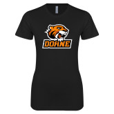 Next Level Ladies SoftStyle Junior Fitted Black Tee-Thomas Doane