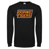 Black Long Sleeve T Shirt-Doane Tigers Stacked