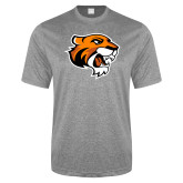Performance Grey Heather Contender Tee-Thomas Tiger Head