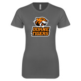 Next Level Ladies SoftStyle Junior Fitted Charcoal Tee-Thomas Doanes Tigers