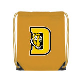 Gold Drawstring Backpack-D w/ Tiger Head