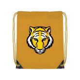 Gold Drawstring Backpack-Tiger Head