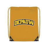 Gold Drawstring Backpack-Wordmark