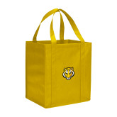 Non Woven Gold Grocery Tote-Tiger Head