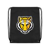 Black Drawstring Backpack-Tiger Head