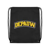 Black Drawstring Backpack-Wordmark