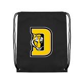 Black Drawstring Backpack-D w/ Tiger Head