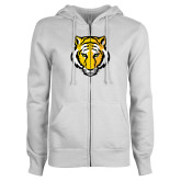 ENZA Ladies White Fleece Full Zip Hoodie-Tiger Head