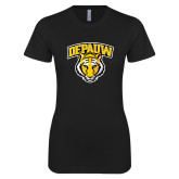 Next Level Ladies SoftStyle Junior Fitted Black Tee-Primary Mark
