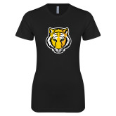 Next Level Ladies SoftStyle Junior Fitted Black Tee-Tiger Head