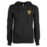 ENZA Ladies Black Fleece Full Zip Hoodie-Primary Mark