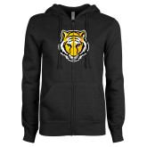 ENZA Ladies Black Fleece Full Zip Hoodie-Tiger Head