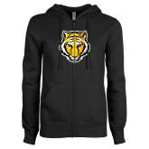 ENZA Ladies Black Fleece Full Zip Hoodie-Tiger Head