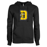 ENZA Ladies Black Fleece Full Zip Hoodie-D w/ Tiger Head