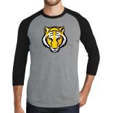 Grey/Black Tri Blend Baseball Raglan-Tiger Head