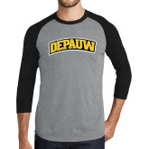 Grey/Black Tri Blend Baseball Raglan-Wordmark