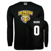 Black Long Sleeve TShirt-Primary Mark, Custom Tee w/ Name and #