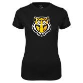 Ladies Syntrel Performance Black Tee-Tiger Head