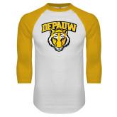 White/Gold Raglan Baseball T-Shirt-Primary Mark
