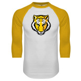 White/Gold Raglan Baseball T-Shirt-Tiger Head