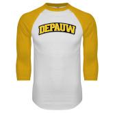 White/Gold Raglan Baseball T-Shirt-Wordmark