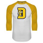 White/Gold Raglan Baseball T-Shirt-D w/ Tiger Head