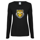 Ladies Black Long Sleeve V Neck T Shirt-Tiger Head
